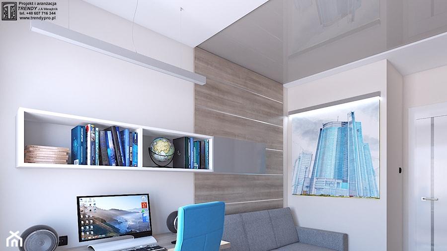 Gabinet - Średnie beżowe biuro kącik do pracy w pokoju, styl nowoczesny - zdjęcie od APP TRENDY Autorska Pracownia Projektowa