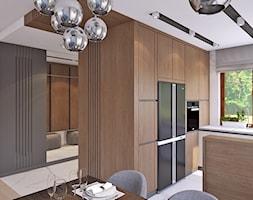 parter domu - Średnia otwarta szara kuchnia w kształcie litery g w aneksie z oknem, styl minimalistyczny - zdjęcie od APP TRENDY Autorska Pracownia Projektowa