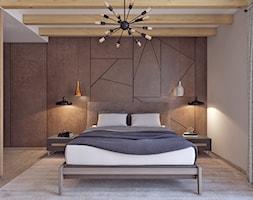 Sypialnia z betonem - Duża biała brązowa sypialnia małżeńska, styl skandynawski - zdjęcie od APP TRENDY Autorska Pracownia Projektowa