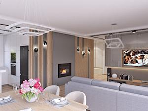 SALONIK - Duży szary salon z kuchnią z jadalnią, styl skandynawski - zdjęcie od APP TRENDY Autorska Pracownia Projektowa