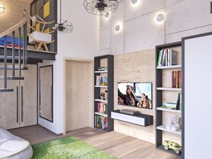 duży pokój chłopięcy - Średni biały szary pokój dziecka dla chłopca dla dziewczynki dla malucha dla nastolatka, styl skandynawski - zdjęcie od APP TRENDY Autorska Pracownia Projektowa