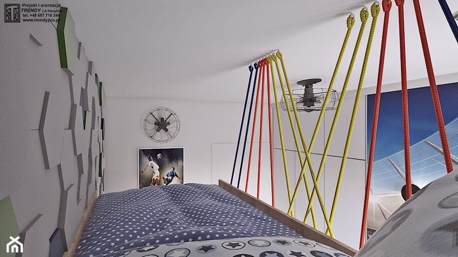 pokój chłopca - Mały biały szary pokój dziecka dla chłopca dla dziewczynki dla malucha dla nastolatka, styl tradycyjny - zdjęcie od APP TRENDY Autorska Pracownia Projektowa