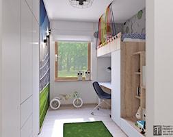 pokój chłopca - Mały biały pokój dziecka dla chłopca dla dziewczynki dla ucznia dla nastolatka, styl minimalistyczny - zdjęcie od APP TRENDY Autorska Pracownia Projektowa