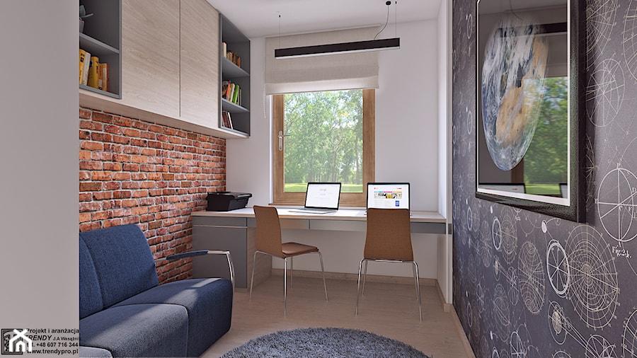 Aranżacje wnętrz - Biuro: gabinet dla dwojga - Średnie czarne białe biuro domowe kącik do pracy w pokoju, styl nowoczesny - APP TRENDY Autorska Pracownia Projektowa. Przeglądaj, dodawaj i zapisuj najlepsze zdjęcia, pomysły i inspiracje designerskie. W bazie mamy już prawie milion fotografii!