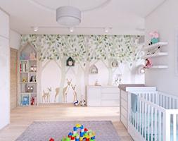 SPOKOJNY POKOJ MAŁEGO DZIECKA - Duży szary pokój dziecka dla chłopca dla dziewczynki dla niemowlaka, styl skandynawski - zdjęcie od APP TRENDY Autorska Pracownia Projektowa