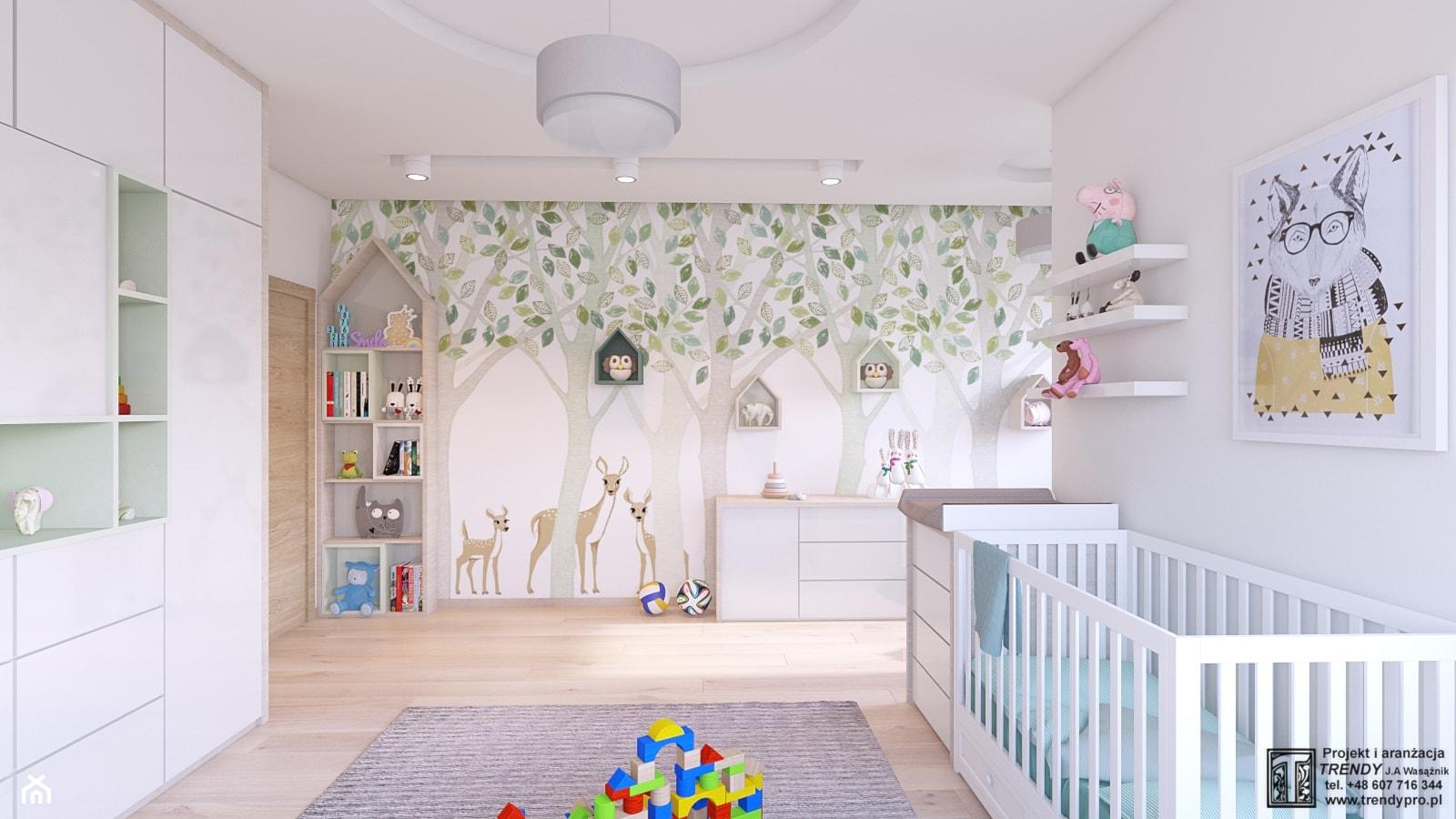 SPOKOJNY POKOJ MAŁEGO DZIECKA - Duży szary pokój dziecka dla chłopca dla dziewczynki dla niemowlaka, styl skandynawski - zdjęcie od APP TRENDY Autorska Pracownia Projektowa - Homebook