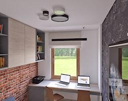 gabinet dla dwojga - Małe szare biuro kącik do pracy w pokoju, styl vintage - zdjęcie od APP TRENDY Autorska Pracownia Projektowa