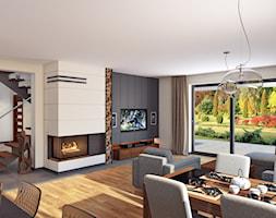 salon 2 - Duży biały beżowy salon z kuchnią z jadalnią z tarasem / balkonem, styl nowoczesny - zdjęcie od APP TRENDY Autorska Pracownia Projektowa