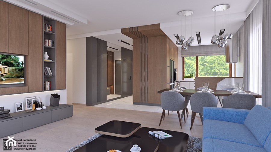 parter domu - Duży biały beżowy salon z bibiloteczką z kuchnią z jadalnią, styl nowoczesny - zdjęcie od APP TRENDY Autorska Pracownia Projektowa