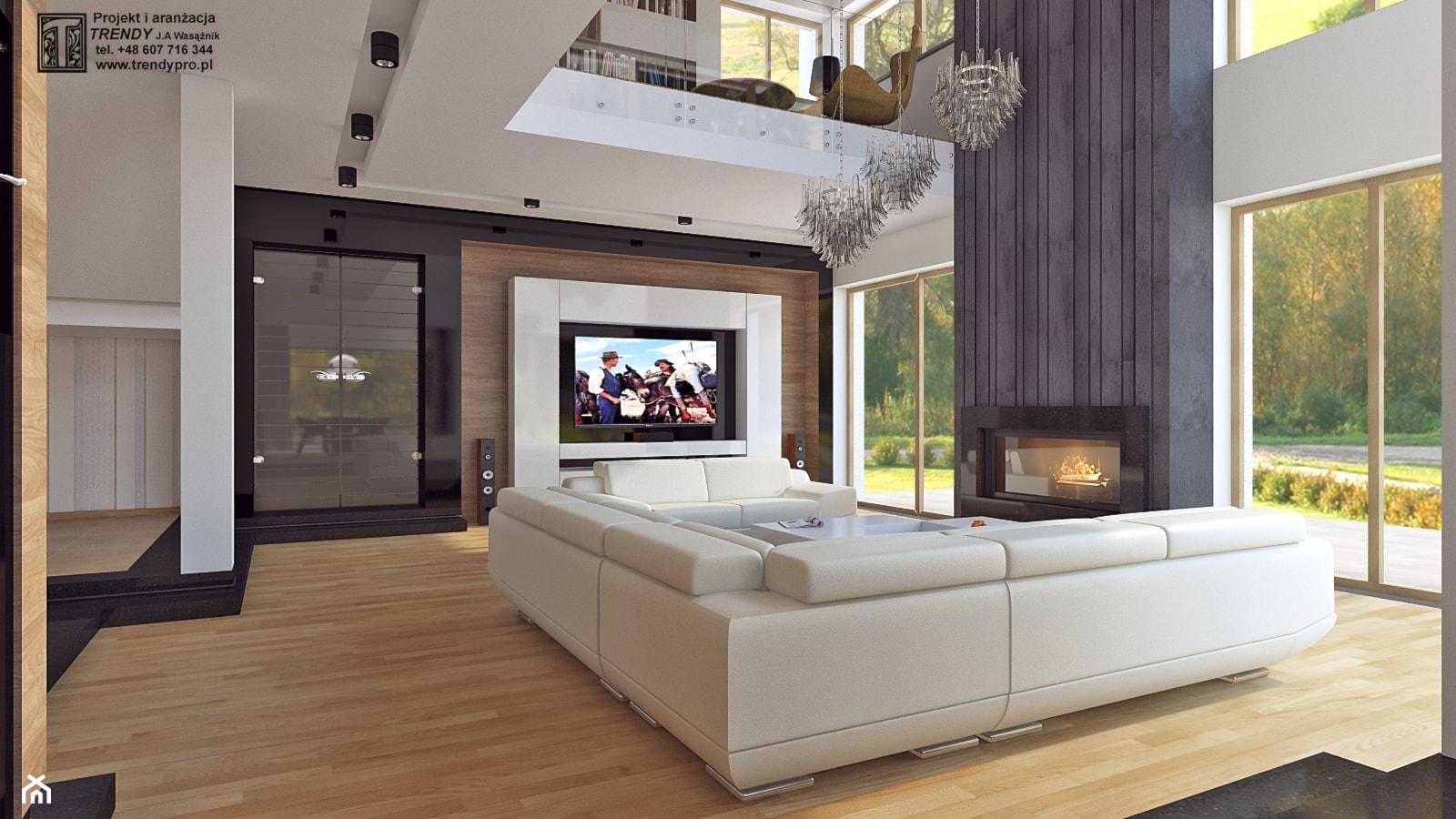 Salon i kuchnia - Duży biały czarny salon z antresolą, styl nowoczesny - zdjęcie od APP TRENDY Autorska Pracownia Projektowa - Homebook