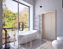 łazienka z wielkim oknem - Duża łazienka w domu jednorodzinnym z oknem, styl rustykalny - zdjęcie od APP TRENDY Autorska Pracownia Projektowa