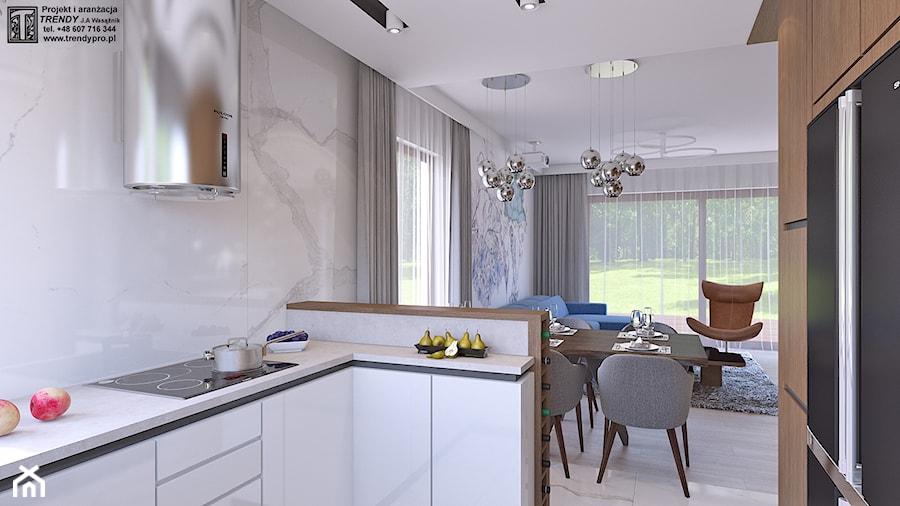 parter domu - Średnia otwarta biała kuchnia w kształcie litery g, styl glamour - zdjęcie od APP TRENDY Autorska Pracownia Projektowa