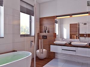 łazienka z drewnem - Średnia beżowa brązowa łazienka w domu jednorodzinnym z oknem, styl nowoczesny - zdjęcie od APP TRENDY Autorska Pracownia Projektowa
