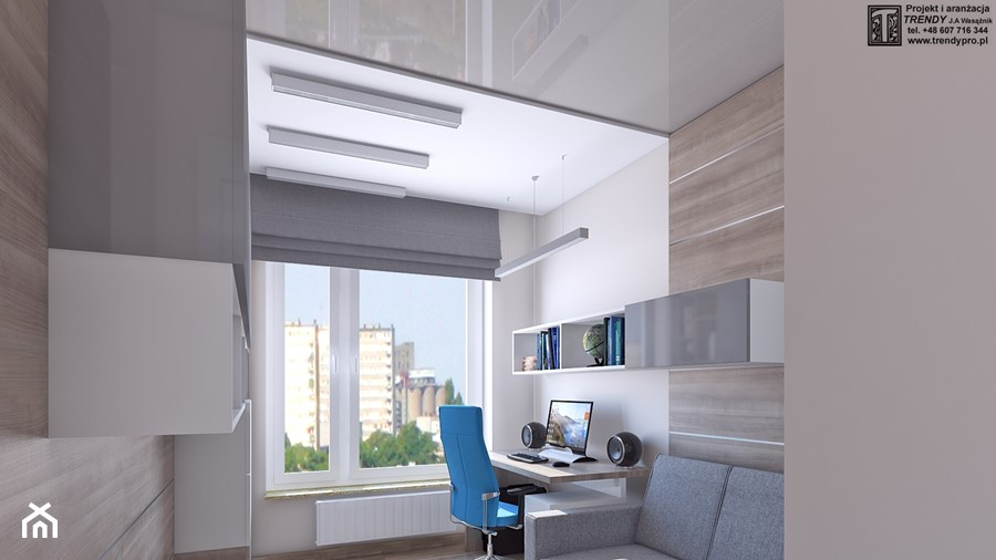 Gabinet - Średnie szare białe biuro kącik do pracy w pokoju, styl nowoczesny - zdjęcie od APP TRENDY Autorska Pracownia Projektowa