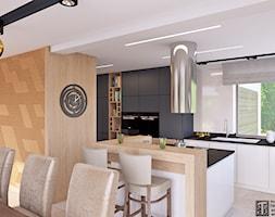 salon z odrobiną złota - Średnia otwarta biała kuchnia w kształcie litery l w aneksie z oknem, styl art deco - zdjęcie od APP TRENDY Autorska Pracownia Projektowa