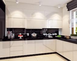 Dom w stylu glamour - Średnia otwarta biała kuchnia w kształcie litery l w aneksie, styl nowoczesny - zdjęcie od APP TRENDY Autorska Pracownia Projektowa