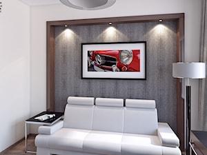 gabinet - Średnie szare białe biuro domowe kącik do pracy w pokoju, styl tradycyjny - zdjęcie od APP TRENDY Autorska Pracownia Projektowa