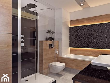 Aranżacje wnętrz - Łazienka: Łazienka 2 - Duża biała czarna łazienka bez okna, styl nowoczesny - APP TRENDY Autorska Pracownia Projektowa. Przeglądaj, dodawaj i zapisuj najlepsze zdjęcia, pomysły i inspiracje designerskie. W bazie mamy już prawie milion fotografii!