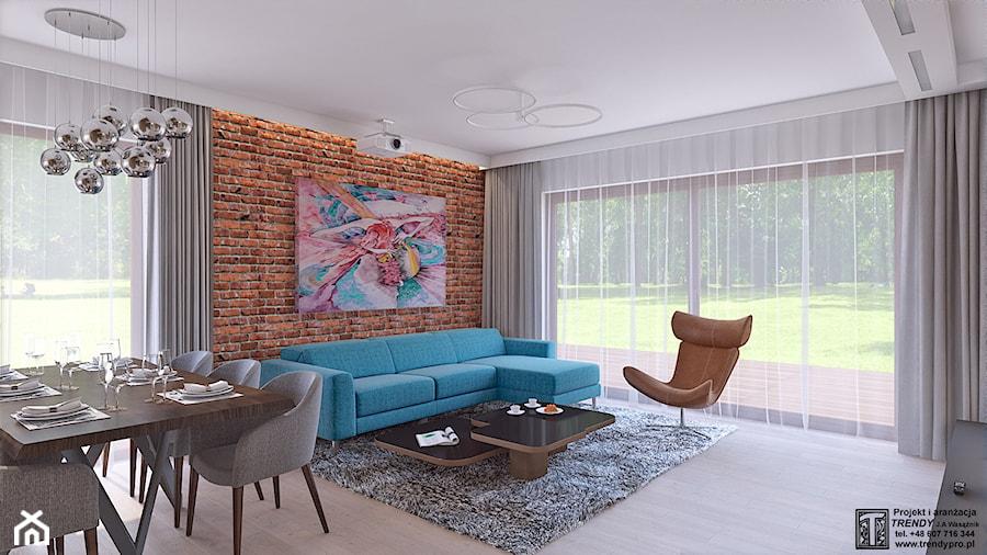 parter domu - Duży biały brązowy salon z jadalnią z tarasem / balkonem, styl rustykalny - zdjęcie od APP TRENDY Autorska Pracownia Projektowa