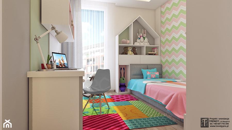 POKóJ DZIEWCZYNKI - Mały szary kolorowy pokój dziecka dla chłopca dla dziewczynki dla ucznia dla malucha dla nastolatka, styl nowoczesny - zdjęcie od APP TRENDY Autorska Pracownia Projektowa