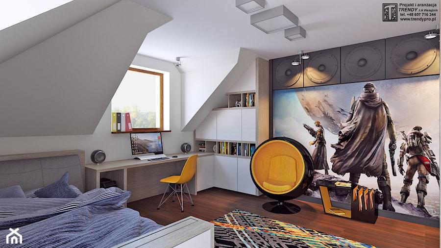 Pokój młodzieżowy 3 - Średni biały kolorowy pokój dziecka dla chłopca dla nastolatka, styl nowoczesny - zdjęcie od APP TRENDY Autorska Pracownia Projektowa