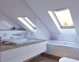 łazienka biała - Średnia biała łazienka na poddaszu w domu jednorodzinnym z oknem, styl nowoczesny - zdjęcie od APP TRENDY Autorska Pracownia Projektowa