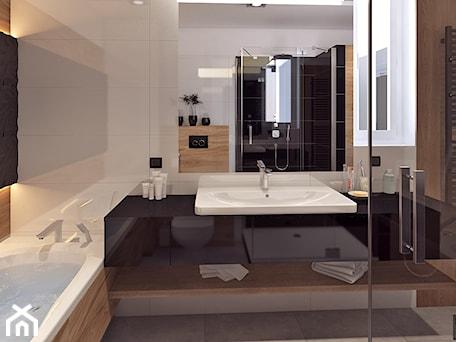 Aranżacje wnętrz - Łazienka: Łazienka 2 - Średnia beżowa czarna łazienka, styl nowoczesny - APP TRENDY Autorska Pracownia Projektowa. Przeglądaj, dodawaj i zapisuj najlepsze zdjęcia, pomysły i inspiracje designerskie. W bazie mamy już prawie milion fotografii!