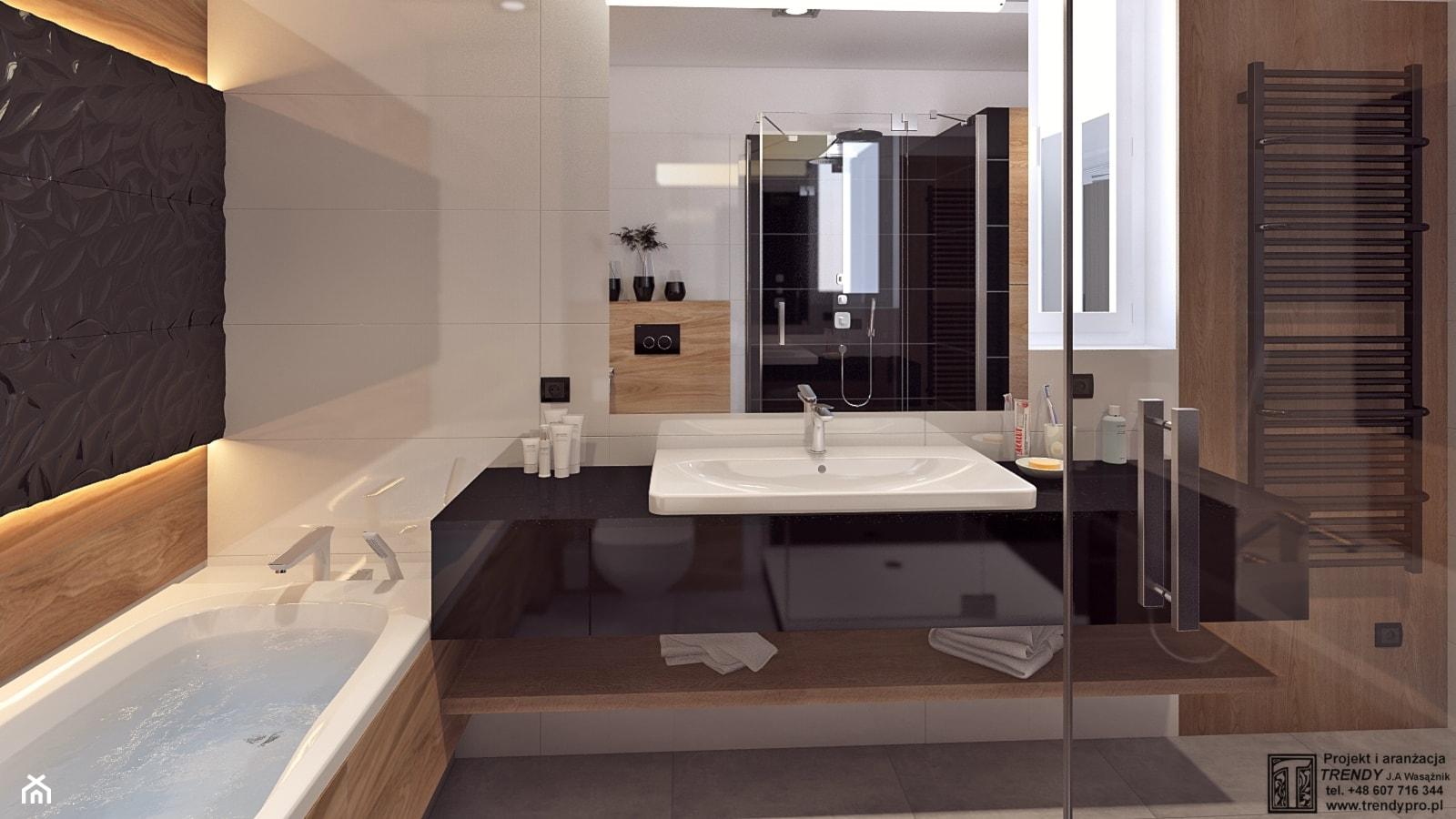 Łazienka 2 - Średnia beżowa czarna łazienka, styl nowoczesny - zdjęcie od APP TRENDY Autorska Pracownia Projektowa - Homebook