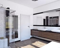 łazienka czerń-biel - Średnia łazienka w bloku w domu jednorodzinnym bez okna, styl art deco - zdjęcie od APP TRENDY Autorska Pracownia Projektowa