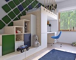 pokój chłopca 333 - Mały biały pokój dziecka dla chłopca dla dziewczynki dla ucznia dla malucha dla nastolatka, styl vintage - zdjęcie od APP TRENDY Autorska Pracownia Projektowa