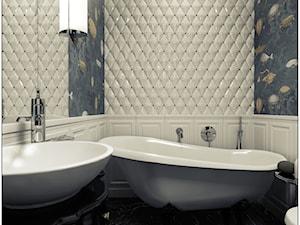 Łazienka- klasyczna - Średnia biała kolorowa łazienka w bloku bez okna, styl klasyczny - zdjęcie od 2k-architektura