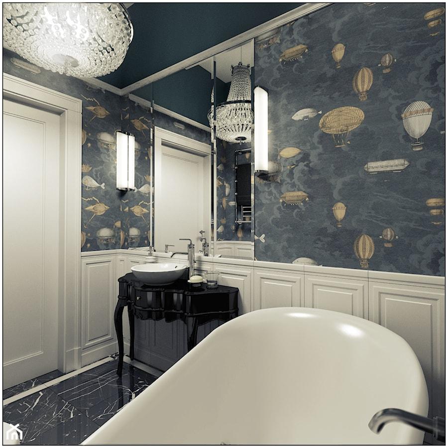 Łazienka- klasyczna - Mała beżowa kolorowa łazienka w bloku bez okna, styl klasyczny - zdjęcie od 2k-architektura
