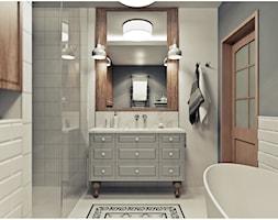 Łazienka - Średnia beżowa szara łazienka, styl vintage - zdjęcie od 2k-architektura