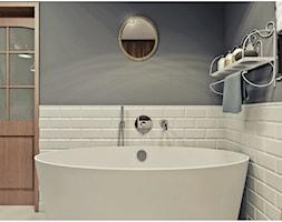 Łazienka - Średnia biała szara łazienka w bloku bez okna, styl vintage - zdjęcie od 2k-architektura - Homebook