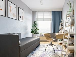 M72 - Średnie szare biuro domowe kącik do pracy w pokoju, styl industrialny - zdjęcie od BLUETARPAN