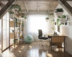 M20 - Duże białe biuro pracownia domowe w pokoju, styl prowansalski - zdjęcie od BLUETARPAN - Homebook