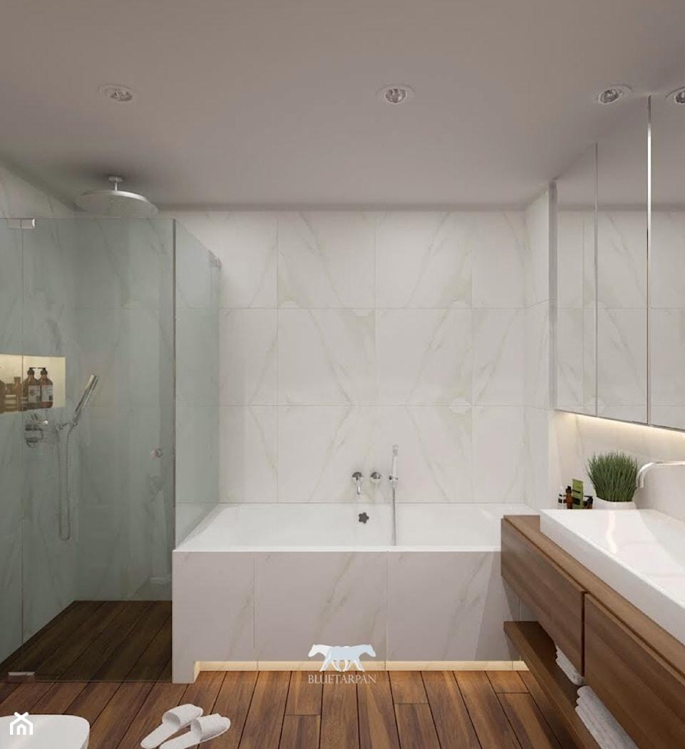 M90 - Mała biała łazienka w bloku w domu jednorodzinnym bez okna, styl nowoczesny - zdjęcie od BLUETARPAN - Homebook