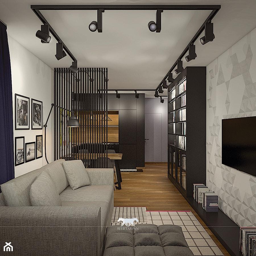 M52 - Mały kolorowy salon z bibiloteczką z kuchnią z jadalnią, styl eklektyczny - zdjęcie od BLUETARPAN