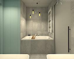 TEASER - Far, far away...SherLOCKED - Mała niebieska łazienka w bloku w domu jednorodzinnym bez okna, styl nowoczesny - zdjęcie od ARCHITEKSTURA Malwina Kroll architekt