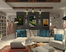 TEASER - Far, far away...SherLOCKED - Mały szary czarny brązowy salon, styl nowoczesny - zdjęcie od ARCHITEKSTURA Malwina Kroll architekt