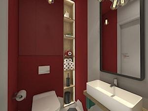 I wtedy stało się czerwone - Szara czerwona łazienka bez okna, styl nowoczesny - zdjęcie od ARCHITEKSTURA Malwina Kroll architekt