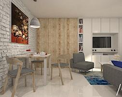GranatLOVE - Mała beżowa szara jadalnia w salonie, styl nowoczesny - zdjęcie od ARCHITEKSTURA Malwina Kroll architekt