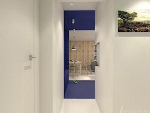 GranatLOVE - Mały biały niebieski hol / przedpokój, styl nowoczesny - zdjęcie od ARCHITEKSTURA Malwina Kroll architekt