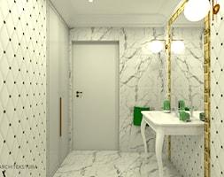 Mała beżowa łazienka na poddaszu w bloku w domu jednorodzinnym bez okna, styl eklektyczny - zdjęcie od ARCHITEKSTURA Malwina Kroll architekt