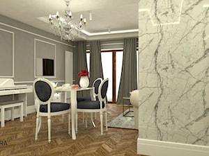 Och Ludwik - Mała otwarta szara jadalnia w salonie, styl eklektyczny - zdjęcie od ARCHITEKSTURA Malwina Kroll architekt