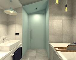TEASER - Far, far away...SherLOCKED - Mała niebieska łazienka na poddaszu w domu jednorodzinnym bez okna, styl nowoczesny - zdjęcie od ARCHITEKSTURA Malwina Kroll architekt