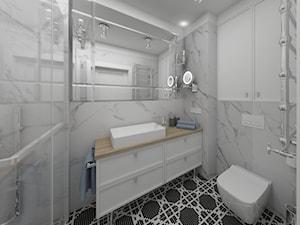 Apartament Kraków 2019 - Mała biała łazienka w bloku w domu jednorodzinnym bez okna, styl klasyczny - zdjęcie od MJ Design Monika Juszczel