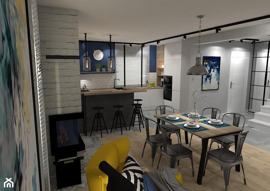 Dom jednorodzinny pod Ostrowcem Św. 2018 - Średnia otwarta szara niebieska kuchnia w kształcie litery l z oknem, styl industrialny - zdjęcie od MJ Design Monika Juszczel