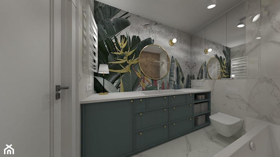 Osiedle Kopernika Ostrowiec Św. 2018 - Mała szara zielona łazienka w bloku w domu jednorodzinnym bez okna, styl nowoczesny - zdjęcie od MJ Design Monika Juszczel