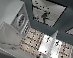 Mieszkanie Warszawa 2018 - Mała szara zielona łazienka w bloku w domu jednorodzinnym bez okna, styl minimalistyczny - zdjęcie od MJ Design Monika Juszczel
